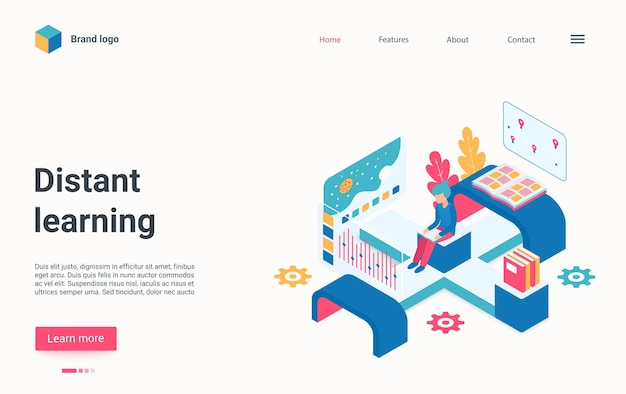 Distance learning technology isometric landing page