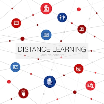 Distance learning trendy web template with simple icons. contains such elements as online education, webinar, learning process, video course