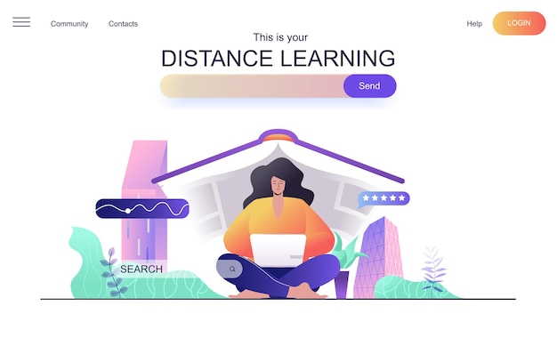 Distance learning web concept for landing page