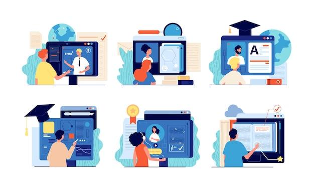 遠隔学校。インターネット教育、オンライントレーニングおよびコース。