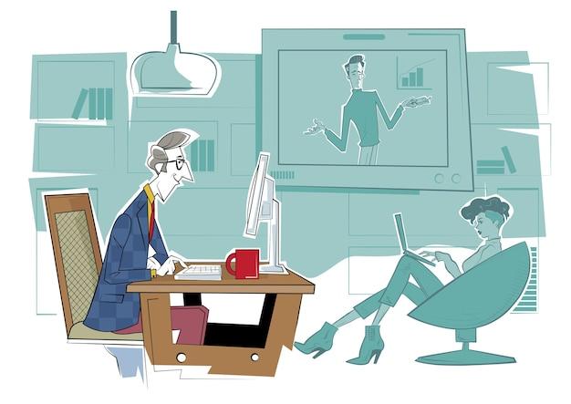 遠隔ウェブ学習。オンライン教育プラットフォーム、ワークショップと語学指導、ビデオコール、教育ウェビナー、個人指導コース。