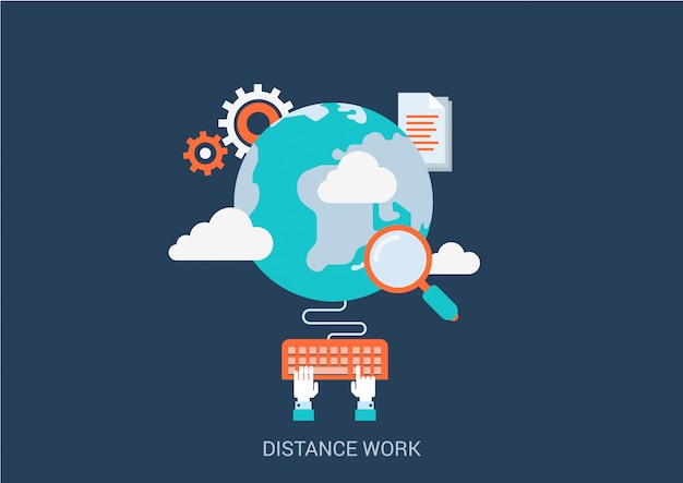 Distance work concept flat style illustration.