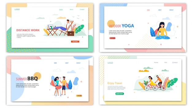 Distance work outdoor yoga. summer bbq enjoy travel banner set