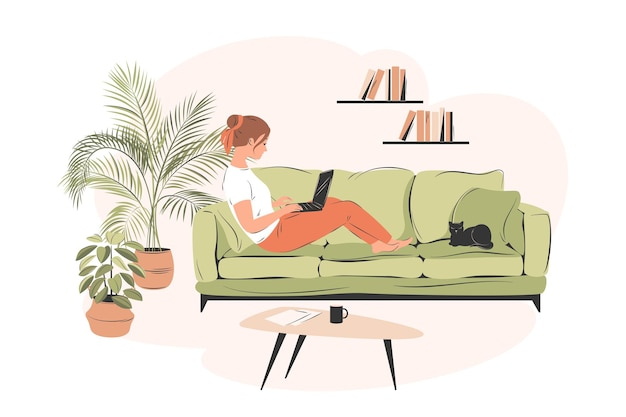 Distance work woman working from home sitting on a sofa student or freelancer