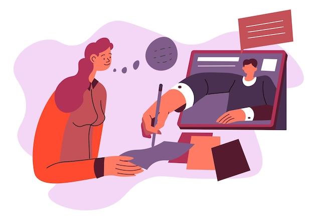 먼 교육과 연구, 종이를 쓰는 여성과 가정교사는 작업을 완료하는 데 도움이 됩니다. 사업가는 온라인 화상 통화 또는 채팅을 사용하여 파트너와 계약 또는 계약에 서명합니다. 평면 스타일의 벡터