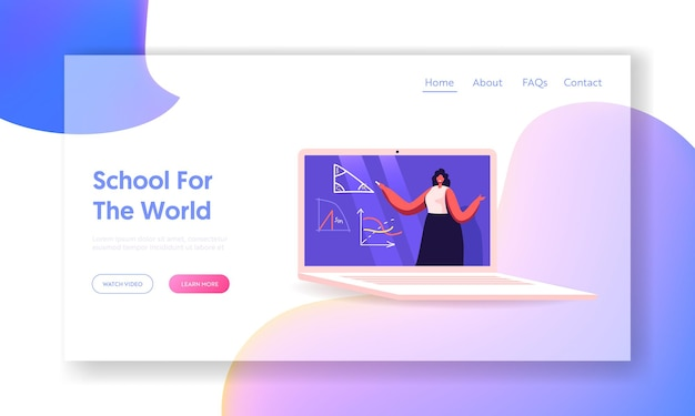 Distant education on covid19 quarantine landing page template