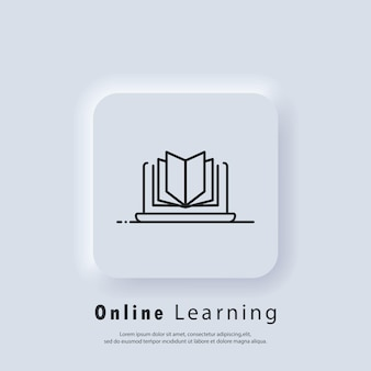 Distant education, e-books icon.online education or distance exam banner. course e-learning from home, online studying. vector. ui icon. neumorphic ui ux white user interface web button. neumorphism