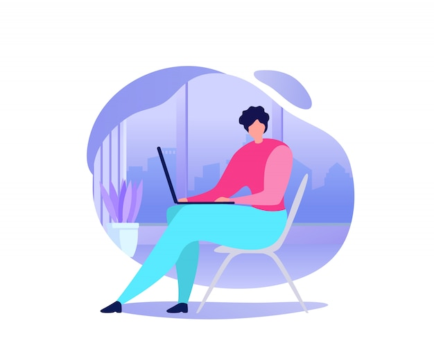 Distant education in internet flat vector concept