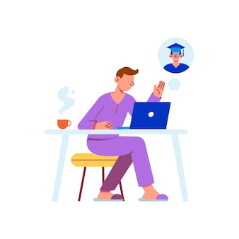 Illustrazione piatta di apprendimento a distanza con il personaggio che studia online a casa
