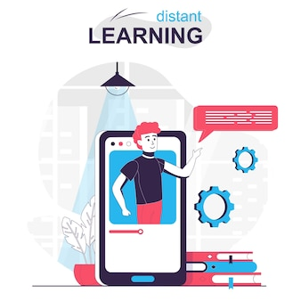 Distant learning isolated cartoon concept online education in mobile app studying at home