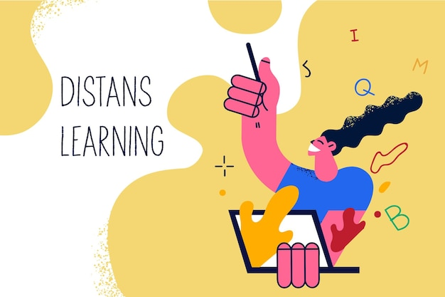 Distant learning and remote job concept