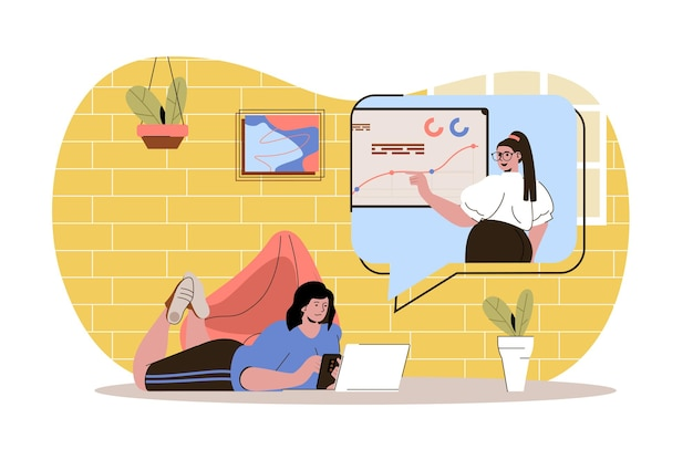 Distant learning web concept student study watches webinar or video course elearning at home
