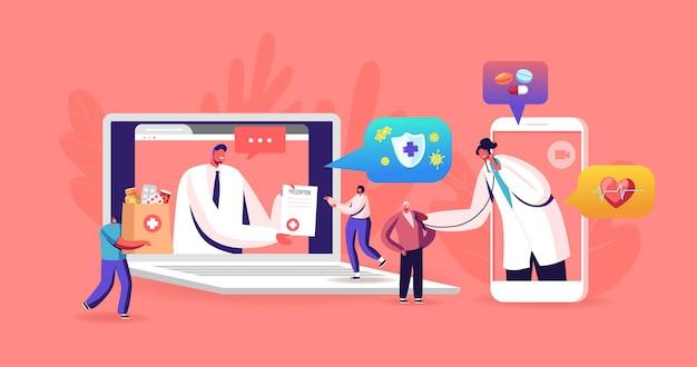 遠いオンライン医学、スマート医療技術。医師のキャラクターは、心臓の鼓動を聞き、巨大なラップトップとスマートフォンの画面から患者に処方箋を出します。漫画の人々のベクトル図
