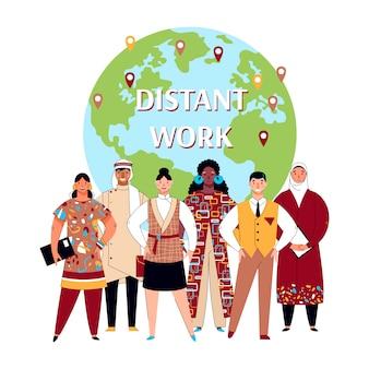 Плакат удаленной работы - разнообразная международная бизнес-команда и глобус