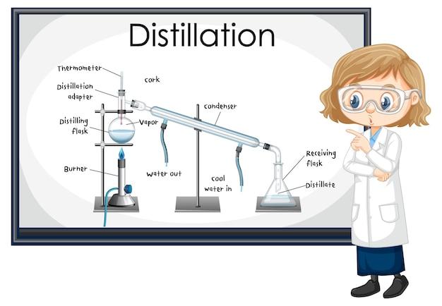 Diagramma del processo di distillazione per l'istruzione con carattere di scienziato
