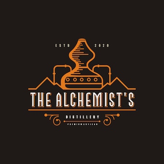 Distillery logo illustration, vintage, brand premium