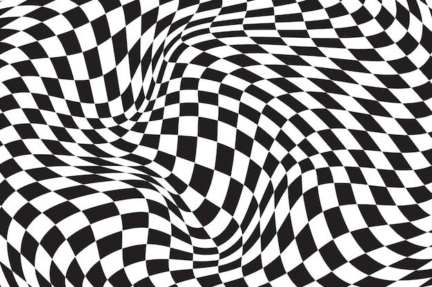 왜곡 된 체크 무늬 배경 평면 디자인