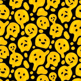 Distorted emoticon seamless pattern template