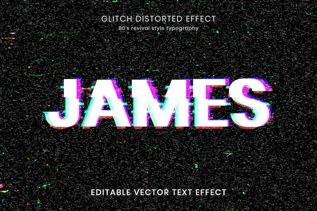 Distorted glitch editable text effect template