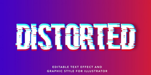 Distorted glitch editable text effect
