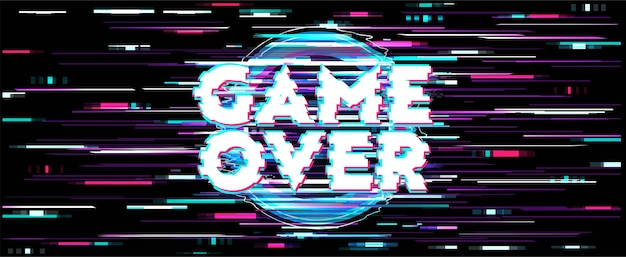 Distortion screen for game over wallpaper with error message