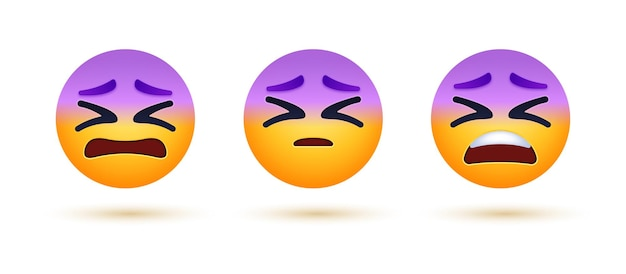 Distraught tired emoji with confounded face
