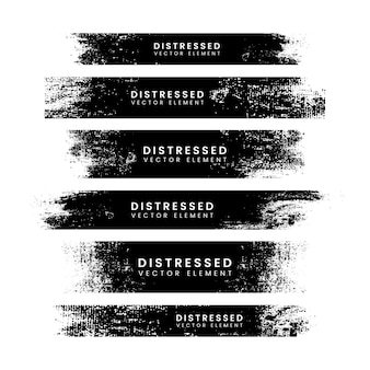 Distressed black stroke banners