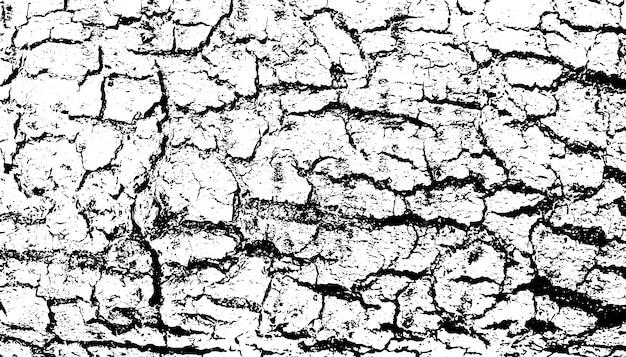 粗い表面、ひびの入った木、樹皮の苦しめられたオーバーレイテクスチャー。グランジ背景。 Premiumベクター