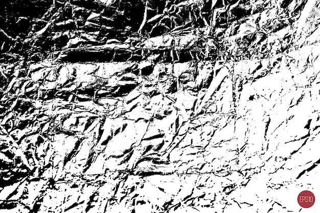 Distressed overlay texture of rough surface, crumpled foil, cracks and creases. grunge background. one color graphic resource.