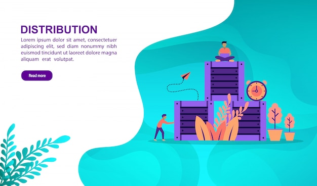 Distribution illustration concept with character. landing page template
