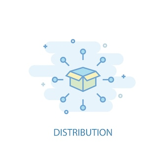 Distribution line concept. simple line icon, colored illustration. distribution symbol flat design. can be used for ui/ux