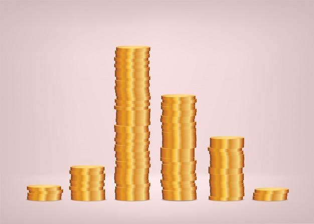 Распределение доходов, график монет. финансовая концепция.
