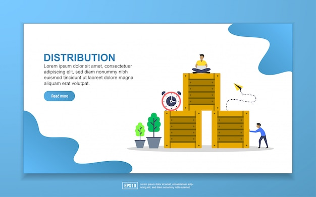 Distribution with tiny people character landing page