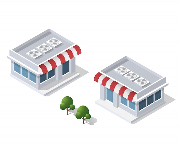 District of the city street houses isometric