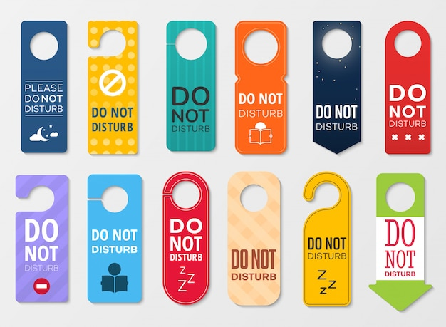 Do not disturb door hanger signs of hotel room