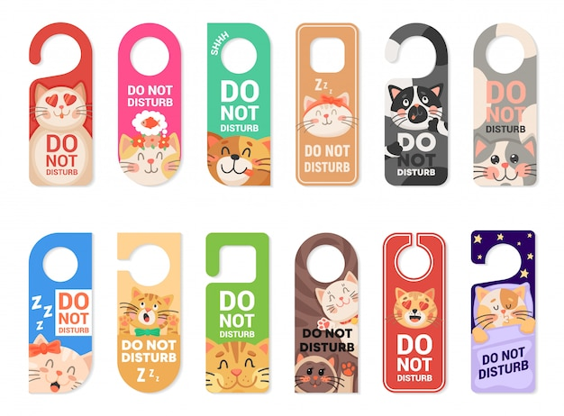 Do not disturb door hanger signs, tags with cats