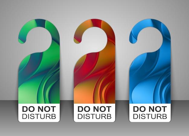 Do not disturb door hanger tags for room in hotel set. vector illustration.