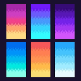 Dithering pixels background. old retro video game pixel art gradient, retro arcade games 8 bit sky illustration set