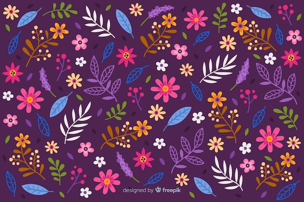 Ditsy colorful floral background