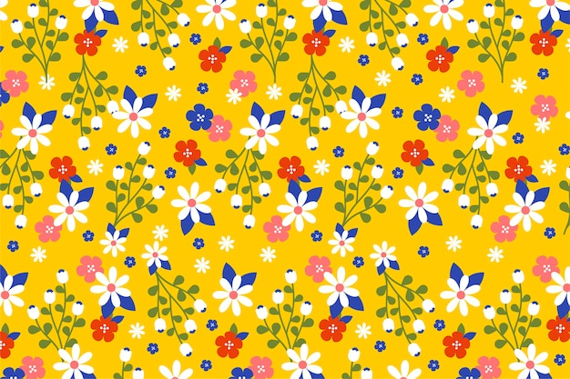 Ditsy colorful floral wallpaper