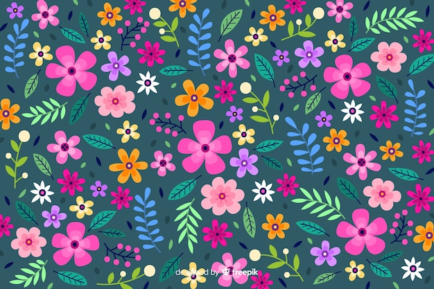 Ditsy colorful flowers background