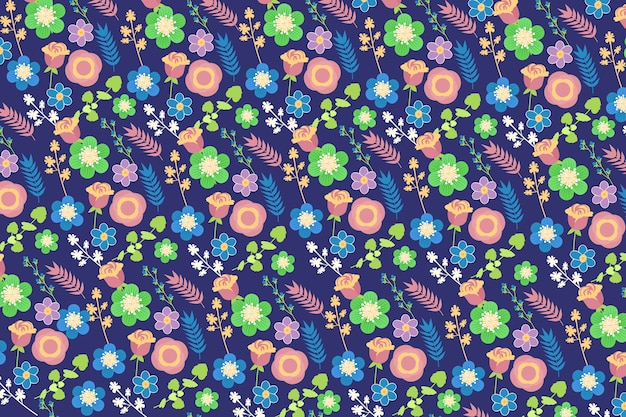 Ditsy floral background in blue and green shades