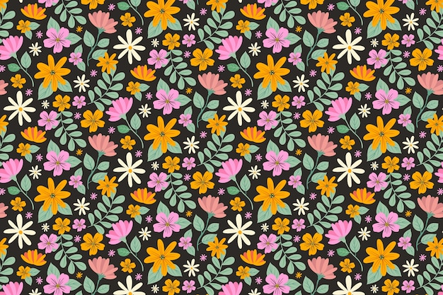 Ditsy floral background with colorful flowers