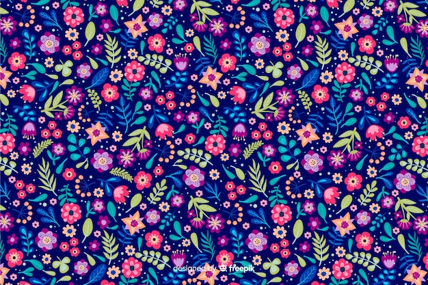 Ditsy floral background with different colorful flowers