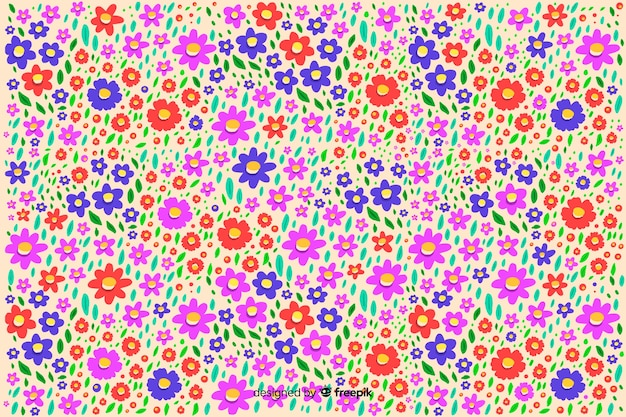 Ditsy floral colorful background