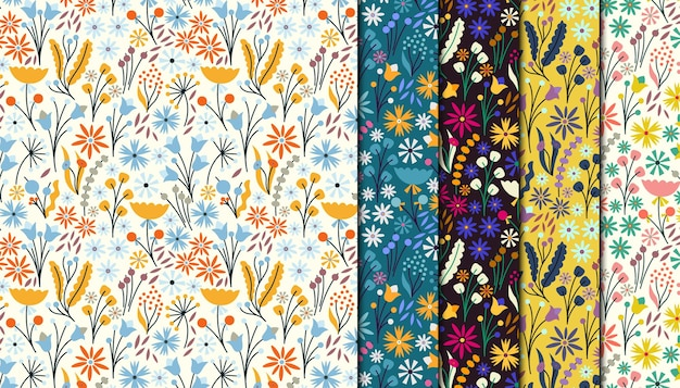 Ditsy floral seamless pattern collection