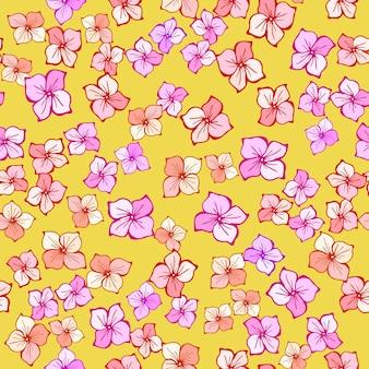 Ditsy 꽃 완벽 한 패턴입니다. 벡터 손으로 그린 라인 아트 그림입니다. 여름 귀여운 핑크 꽃입니다. 인쇄, 직물, 섬유, 벽지 질감.