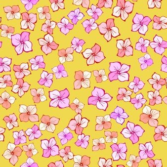Ditsy floral seamless pattern. vector hand drawn line art illustration. summer cute pink flowers. texture for print, fabric, textile, wallpaper.