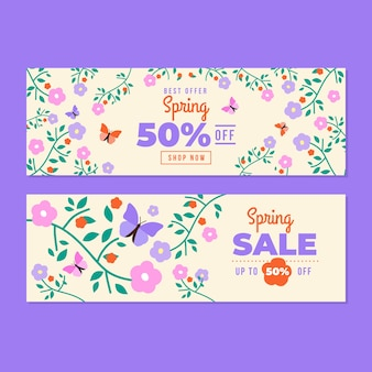 Ditsy floral spring flat design sale banners template