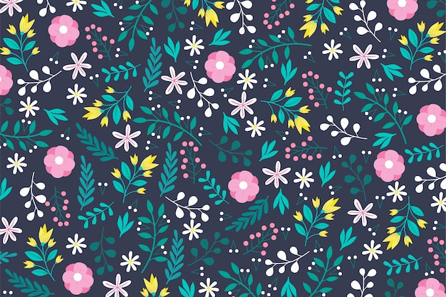 Ditsy flowers print colourful background